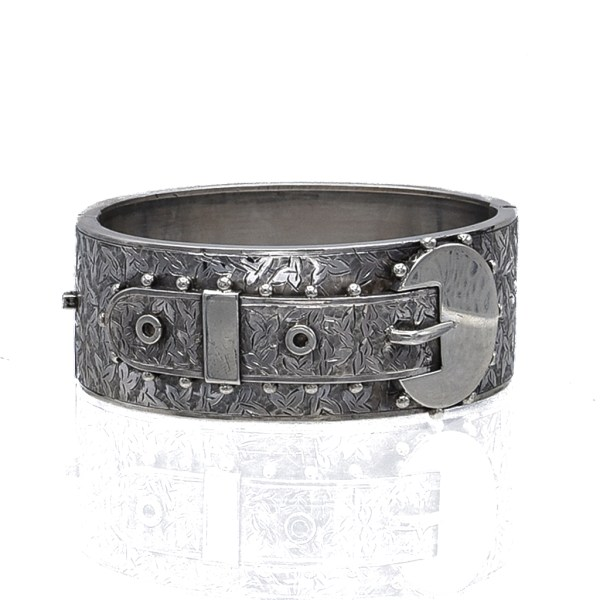 Victorian Sterling Engraved Bangle with Oval Applied Buckle, 1880