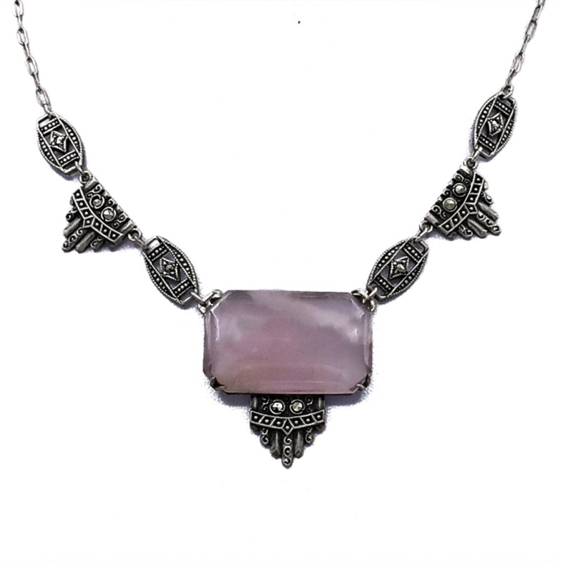 Art Deco Emerald Cut Rose Quartz & Marcasite Necklace, 1930
