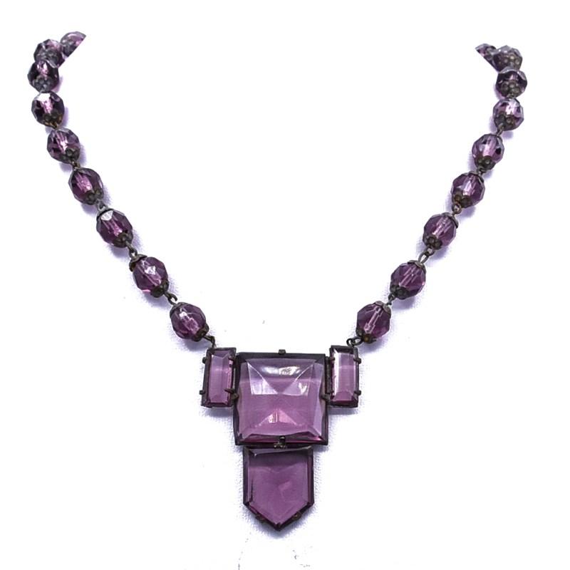 Art Deco Czech Amethyst Glass Necklace, 1930s