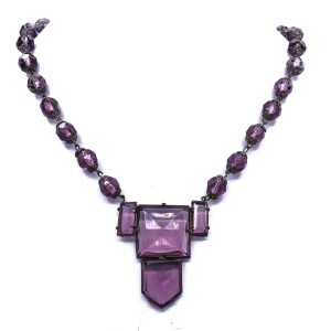 Art Deco Czech Amethyst Glass Necklace, 1930s