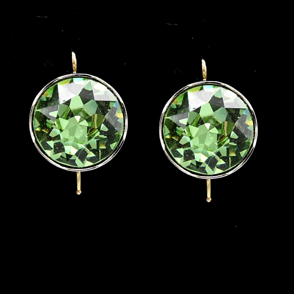 Large Peridot Paste Earrings in 14k Gold