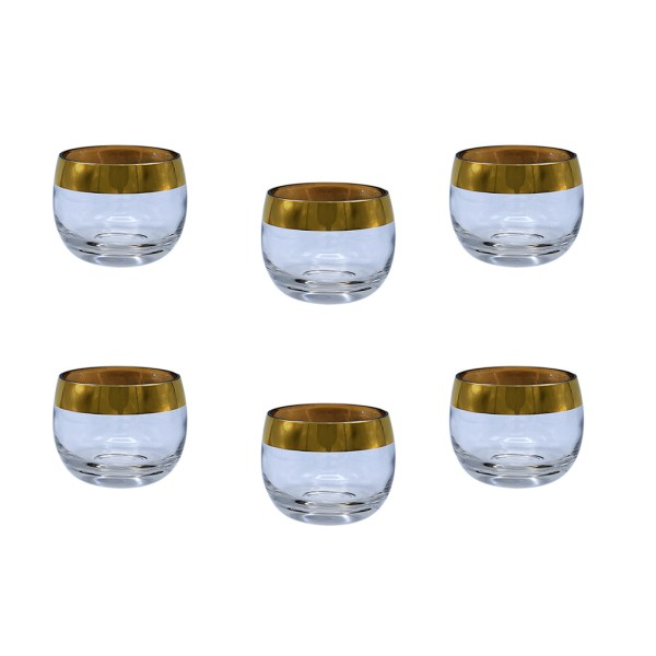 Dorothy Thorpe Small Gold Rimmed Roly Poly Glasses, Set of Six (6)