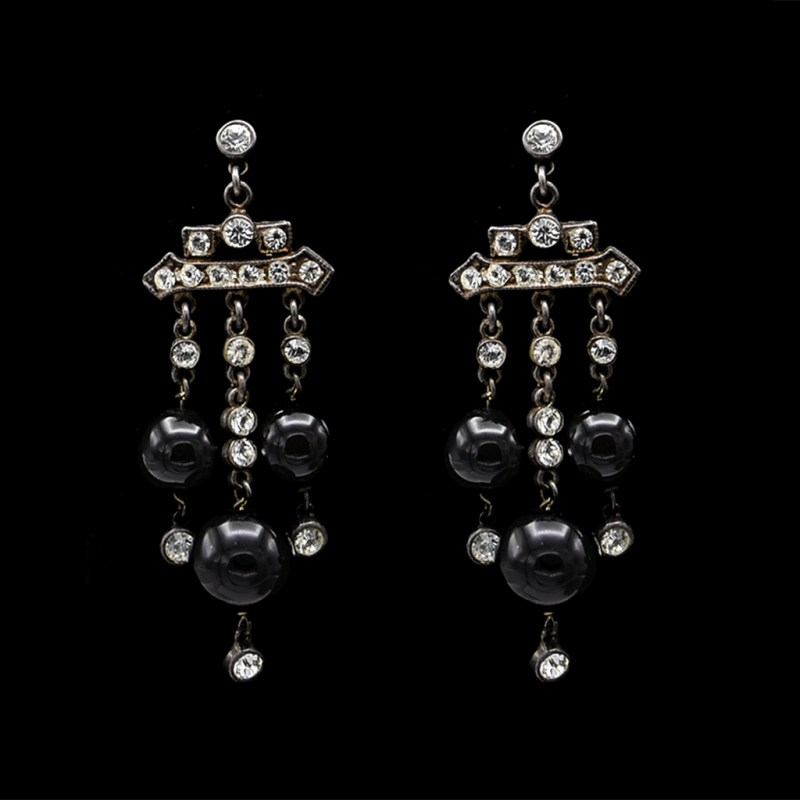 Art Deco Sterling Earrings with Paste & Natural Onyx Dangling Fringe