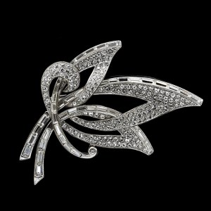 Boucher Rhodium & Pave Set Paste Openwork Leaf Spray Brooch, 1960