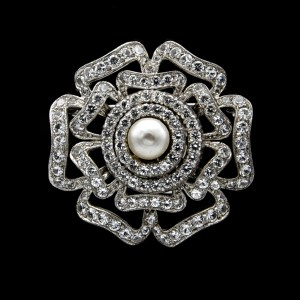 Mid Century Sterling Openwork Tudor Rose Brooch with Pearl Center, 1955