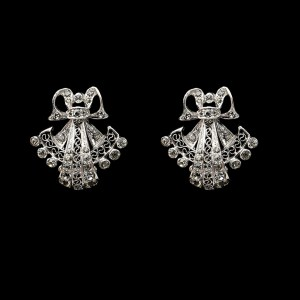 Derosa Unsigned Sterling & Paste Bow & Filigree Fan Earrings, 1940
