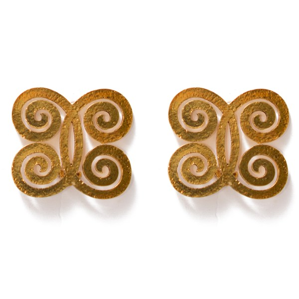 Chanel Hammered Spiral Butterfly Earrings