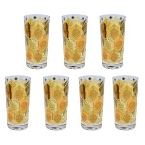 Ned Harris Set of Seven (7) Cera Pineapple 22k Gold Highball Glasses