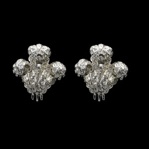 Coro Unsigned Rhodium Prince of Wales Plume Paste Earrings, 1955