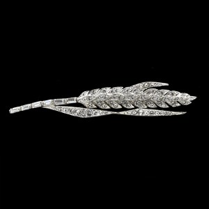 Trifari Krussman & Fishel Rhodium Plated Wheat Sheath Broach, 1925