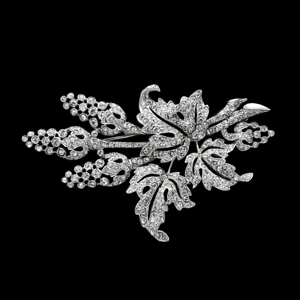 Art Deco Unsigned Boucher Rhodium Plated Clear Paste Leaves & Pods Brooch, 1935