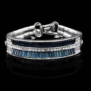 Art Deco Style Rhodium, Clear & Sapphire Paste Bracelet, 1950