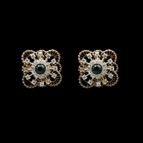 Square Sterling, Emerald, & Clear Paste Earrings, circa 1940