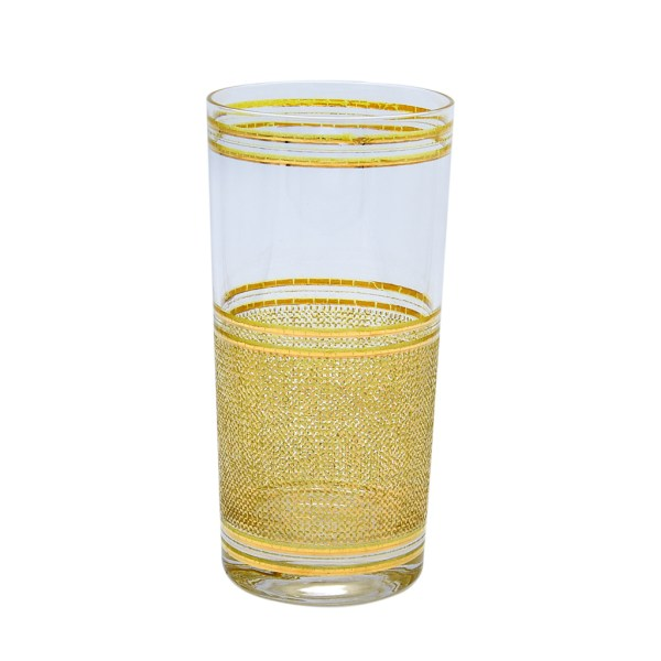 Culver Mesh Pattern 22k Gold Highball Glass