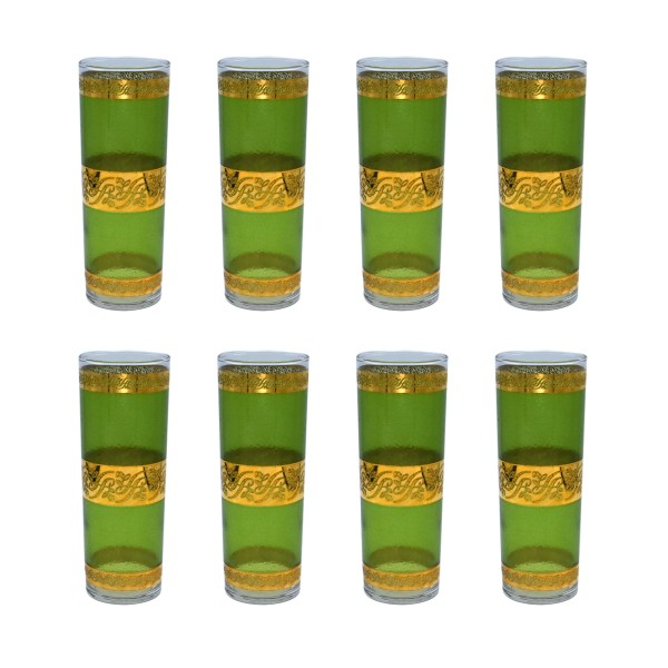 Mid Century Green & Gold Tom Collins Glasses