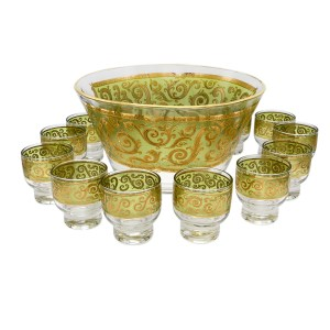 Culver Toledo Martini Glasses, Set of Thirteen (13), with Punch Bowl