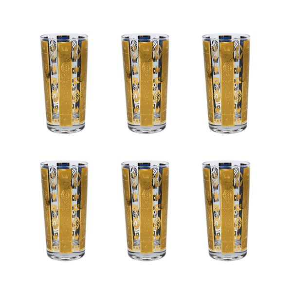 "Georges Briard Blue & Gold ""Coronet"" Highball Glasses, Set of Six (6)"
