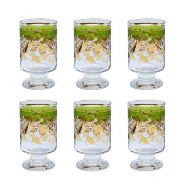 Mid Century Green & 22k Gold Floral Footed Glasses, Set of Eight (8)