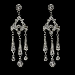 ProductEdwardian Rhodium Plated Paste Triple Fringe Earrings, 1915