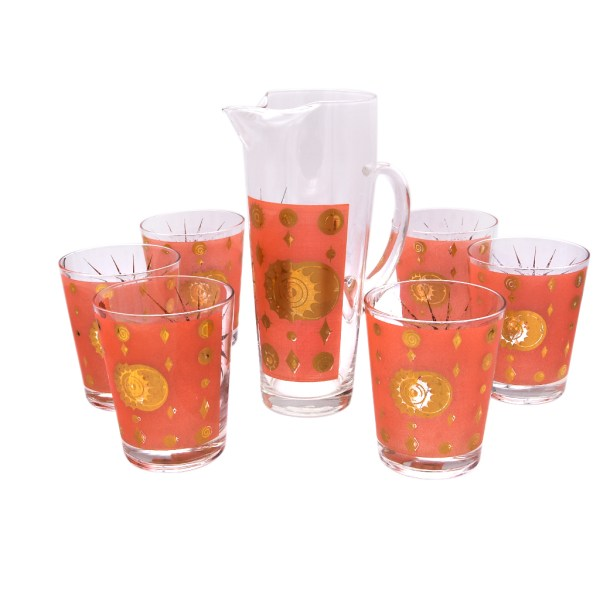 Fred Press Salmon &22k Gold Rocks Glasses with Pitcher
