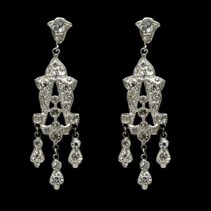 Edwardian Paste Bell-top Dangling Earrings, 1915
