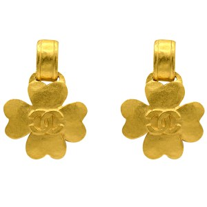 "Chanel 1 3/4"" Gilt Hammered Quatrefoil Dangle Earrings, Spring 1995"