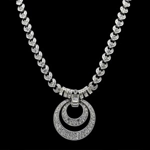 ORA Nested Crescent Pave Paste Necklace, 1955