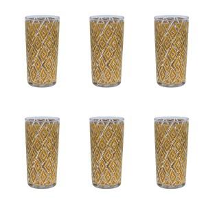 Set of 6 (six) 22k Gold Diamond Highball Glasses