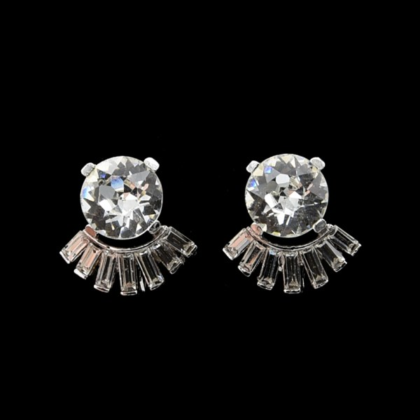 Trifari Headlight Paste with Baguette Arch Earrings, 1950