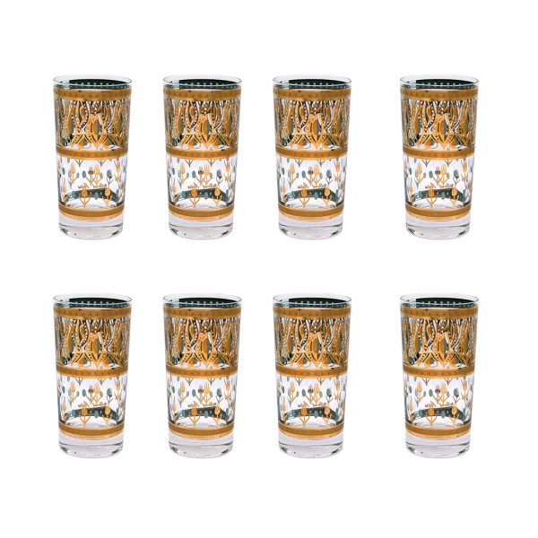 """Fred Press Turquoise & 22k Gold """"Tulips"""" Highball Glasses, Set of Eight (8)"""