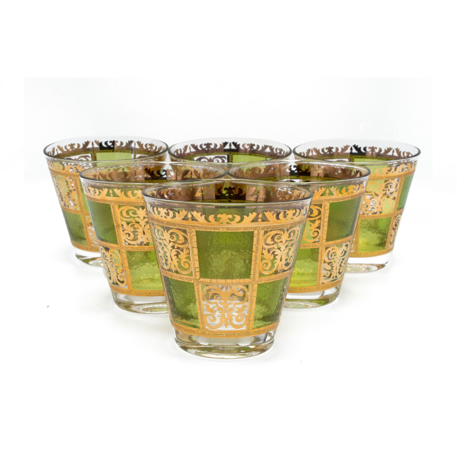 """Culver """"Prado"""" Green & 22k Gold Double Old-Fashioned Glasses, Set of Six (6)"""