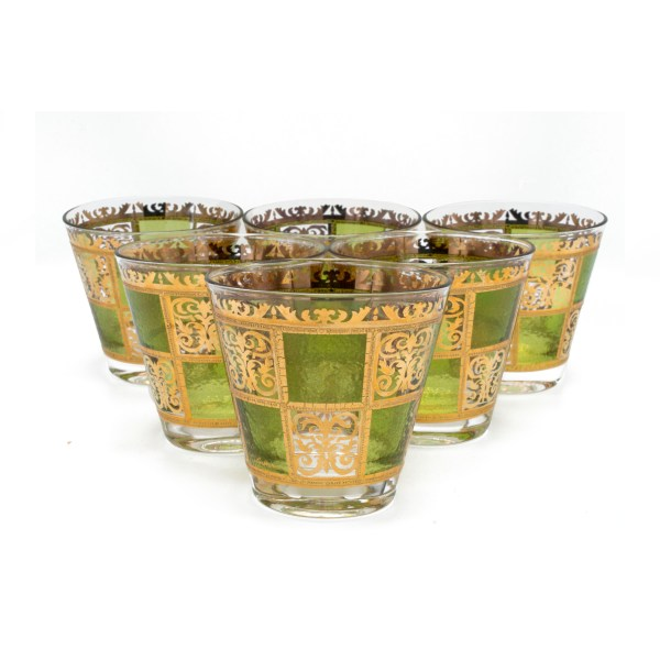 "Culver ""Prado"" Green & 22k Gold Double Old-Fashioned Glasses, Set of Six (6)"