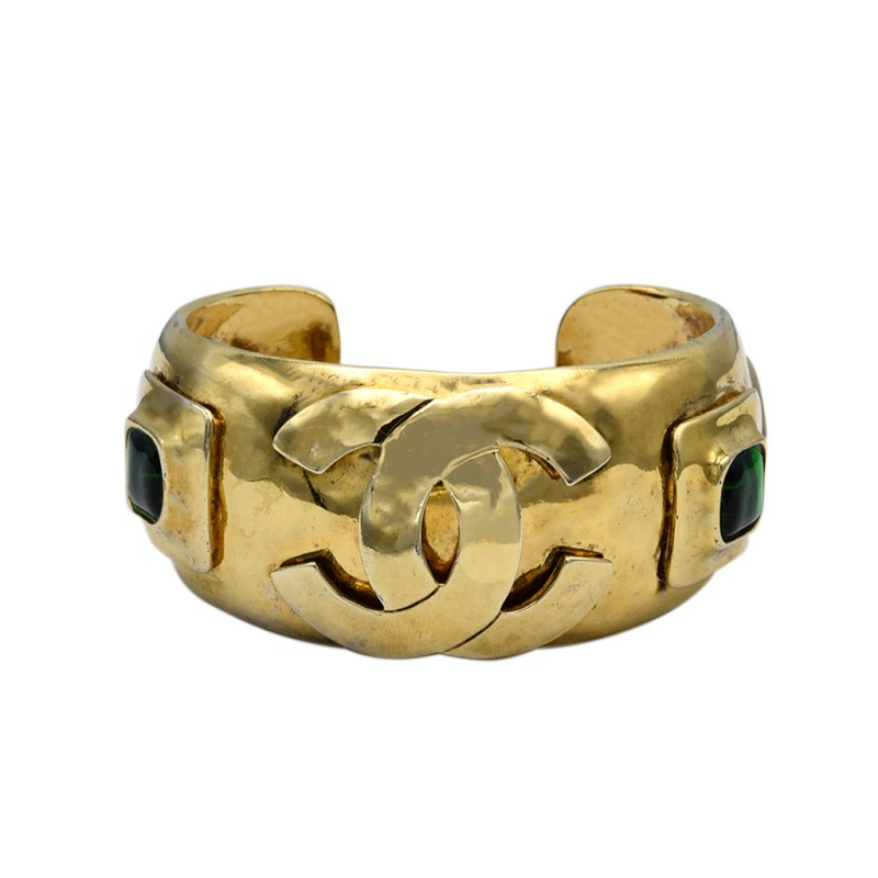 """Chanel 1 1/4"""" Hammered Gilt Cuff with Gripoix Jewels, Spring 1997"""