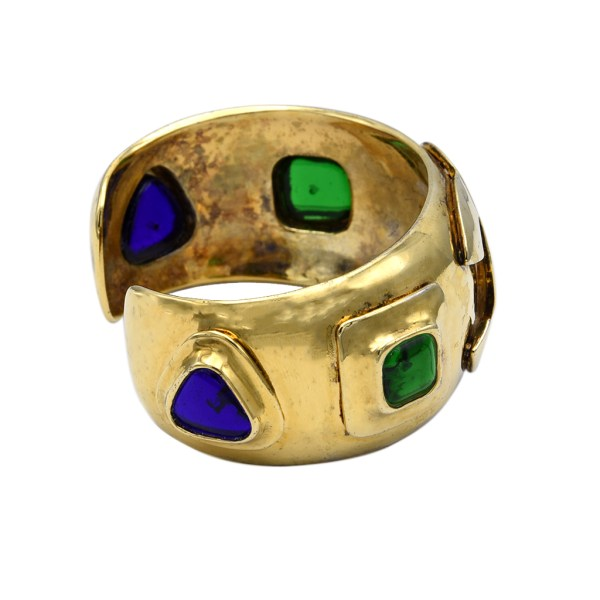 """Chanel 1 1/4"""" Hammered Gilt Cuff with Gripoix Jewels, Spring 1997, side view"""