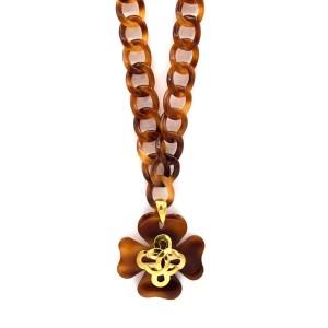 """Chanel 31 1/2"""" Tortoiseshell Acrylic Shamrock & Heart Pendant Necklace, Spring 1995"""