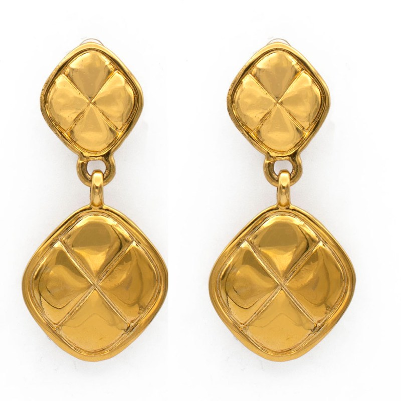 "Chanel 2 3/4"" Gilt Quilted Diamond Shape Drop Earrings, 1990"