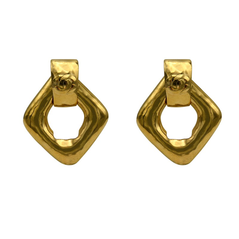 "Chanel 2 3/4"" Diamond Shape Doorknocker Earrings, Spring 1997"