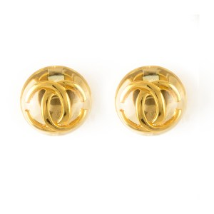 Chanel Rare Lucite Encased Logo Earring, 1988