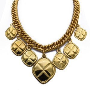 """Chanel 16"""" Quilted Diamond Pendant Bib Necklace, 1990"""