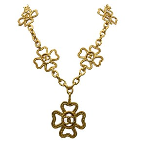 "Chanel Rare 30 1/2"" Rope Twist Four Leaf Clover Pendant Necklace, 1991"