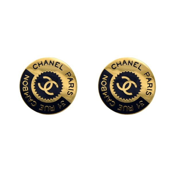 Chanel Gilt & Navy Enamel Bisected Earrings, 1980