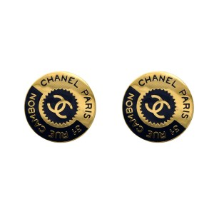 Chanel Gilt & Navy Enamel Bisected Earrings, 1980