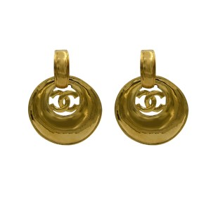 Chanel 2 1/8 Convertible Tapered Hoop Doorknocker Style Earrings, Spring 1999