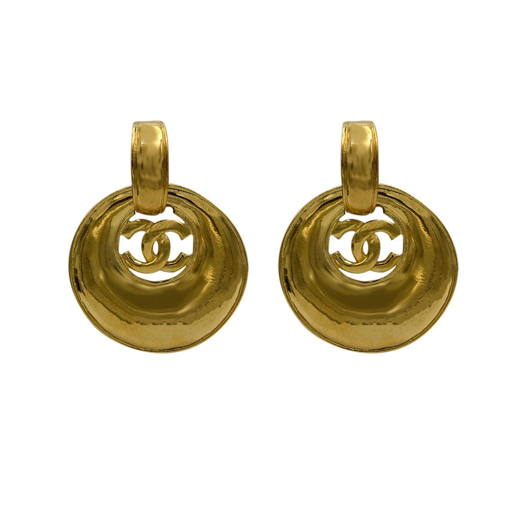 Chanel 2 1/8 Convertible Tapered Hoop Doorknocker Style Earrings, Spring 1999