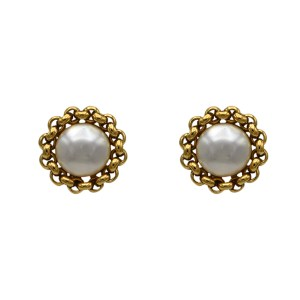 "Chanel 1 1/8"" Gilt Chain Framed Mabe Pearl Earrings, 1990"