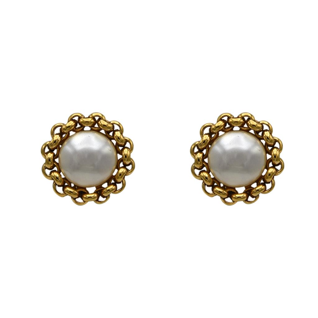 "Chanel 1 1/8"" Gilt Chain Framed Mabe Pearl Earrings, 1990"