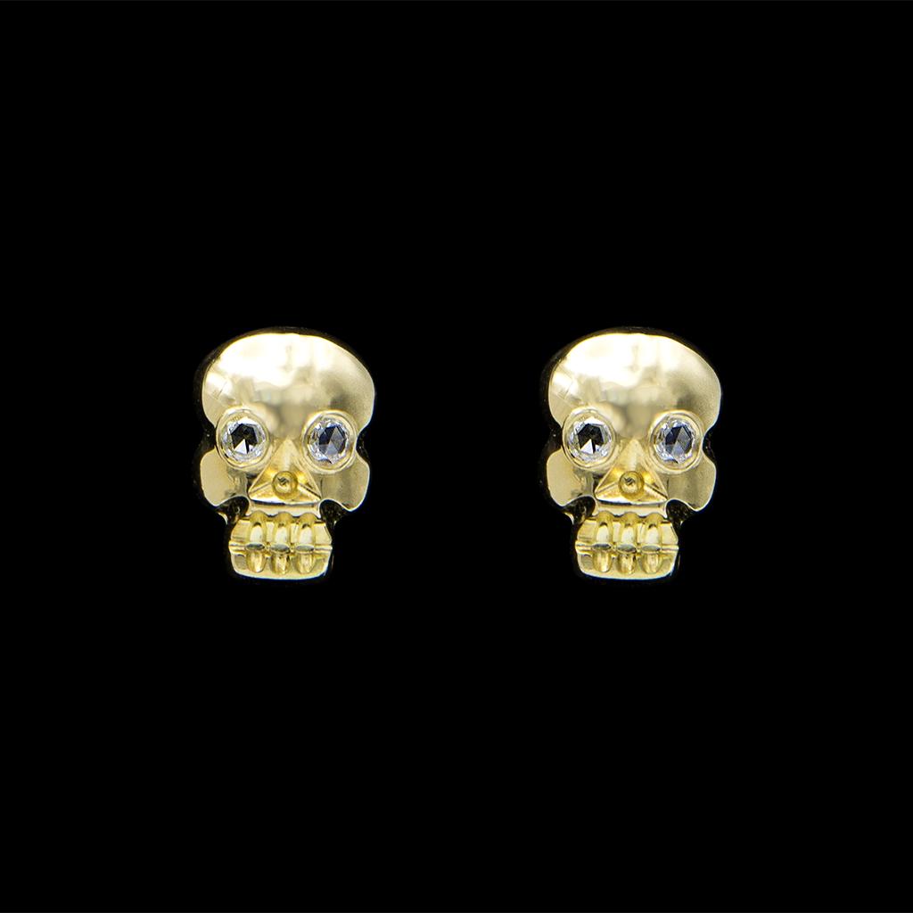 18k Memento Mori Stud Earrings with Diamond Eyes