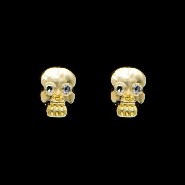 18k Memento Mori Stud Earrings with Diamond Eyes