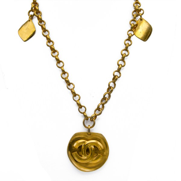 """Chanel 31"""" Gilt Necklace with Flat Logo Pendant & Diamond Shape Charms, Spring 1996"""