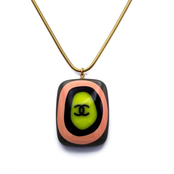 "Chanel 30"" Gilt Snake Chain with Acrylic Bullseye Pendant, Spring 2003"